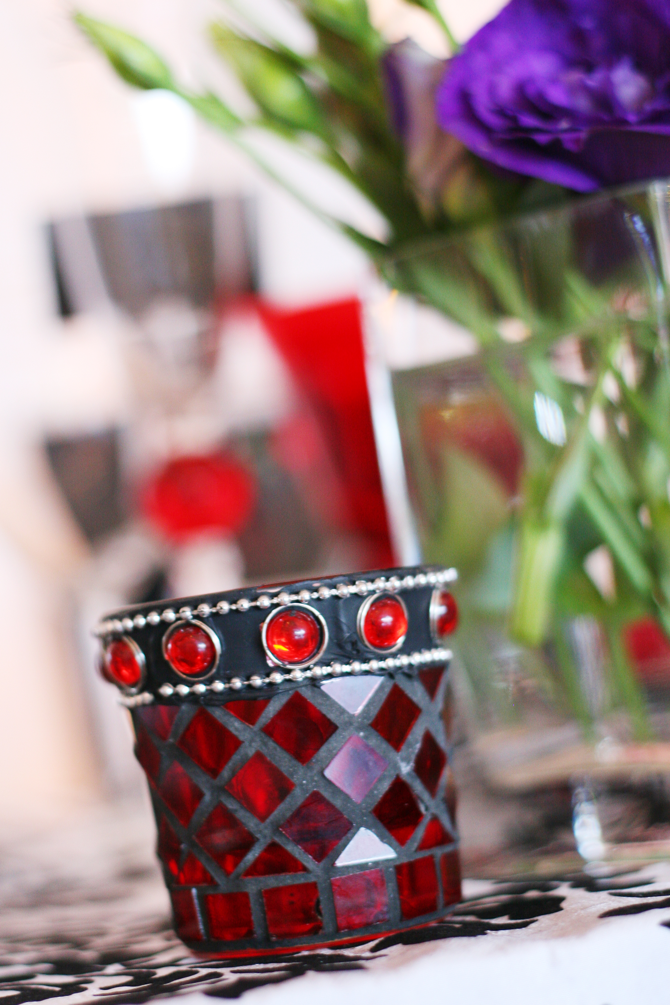 Red mosaic candle holders
