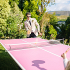 Pink table tennis table