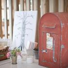 Vintage red post box for cards