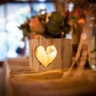 Rustic heart cut outs candle holders