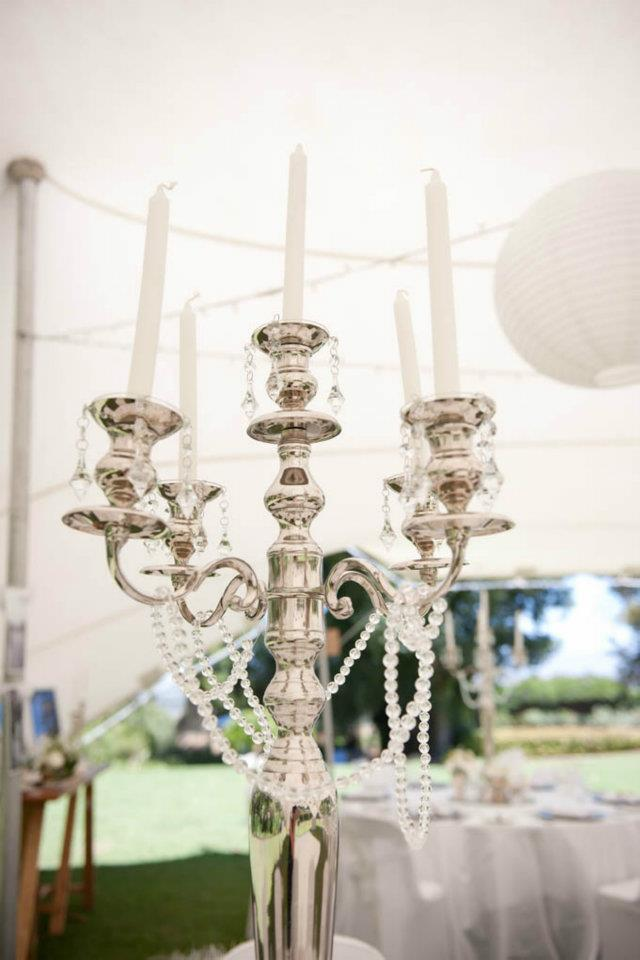 Silver candelabra with crystal detail