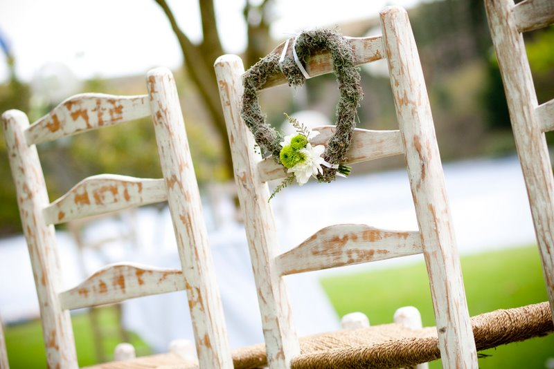 White washed wooden chairs