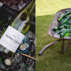 Rustic wheelbarrow for drinks